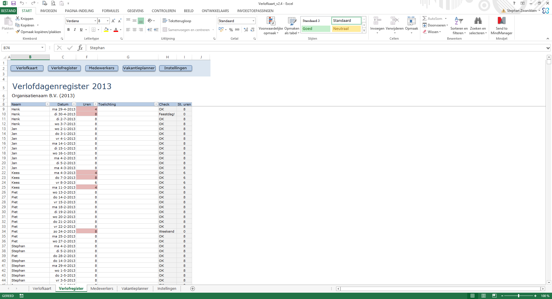Verlofkaart in Excel Verlofkaart in Excel voor 2016 & 2017 - Compleet ...